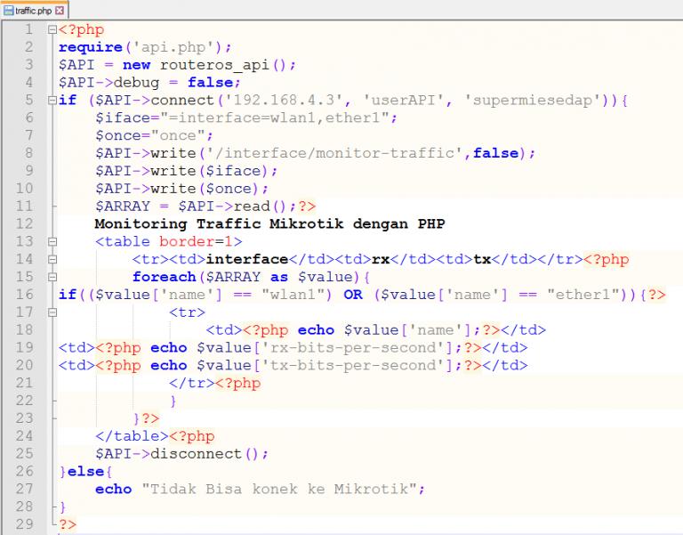 Source code Monitoring Bandwidth pada Router MikroTik dengan PHP