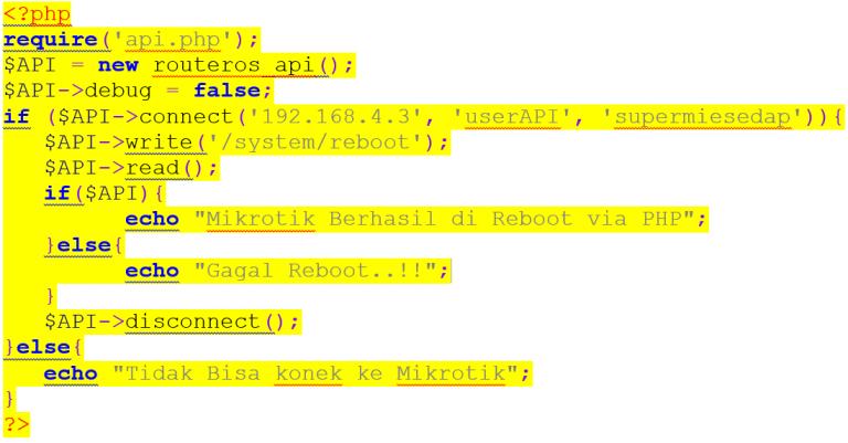 Source code Reboot Router MikroTik dengan PHP