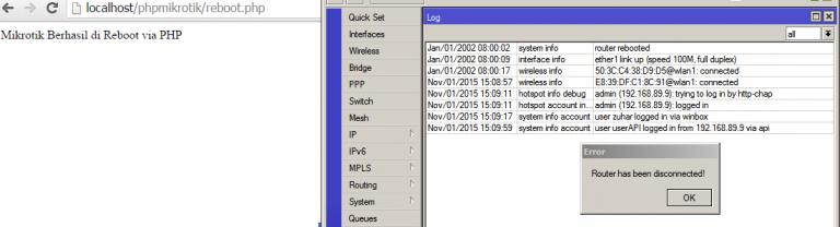 Status Reboot Router MikroTIk dengan PHP