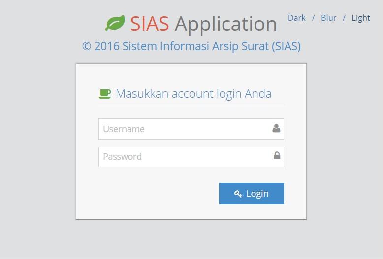 Halaman Login Aplikasi Sistem Informasi Arsip Surat - Aplikasi SIAS Lensakom