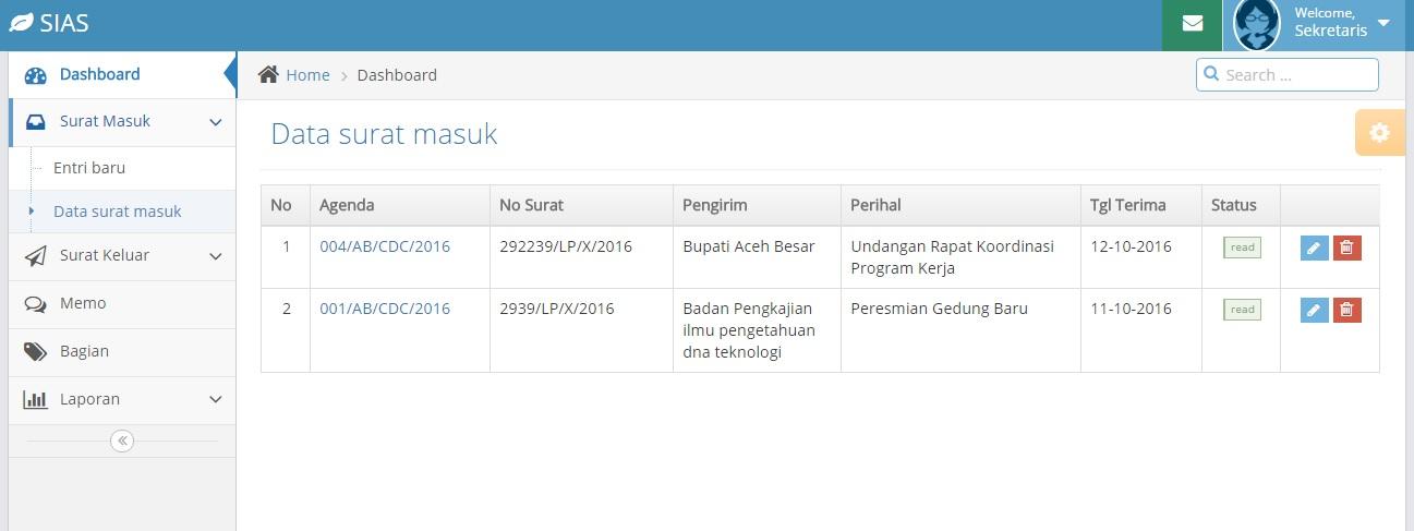 Halaman Data Surat Masuk - SIAS Lensakom