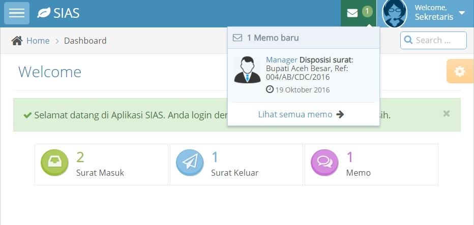 Aplikasi Sias Sistem Informasi Arsip Surat Lensakom