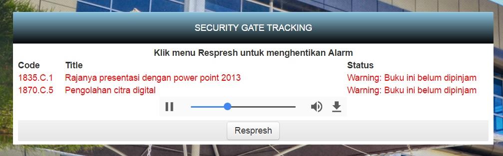Aplikasi LMS - Hasil pemindai buku melalui Security Gate