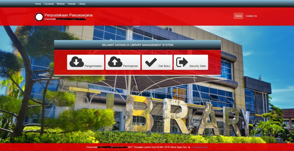 Aplikasi LMS - Halaman Utama Aplikasi Library Management System Berbasis RFID (Terintegrasi SLiMS)