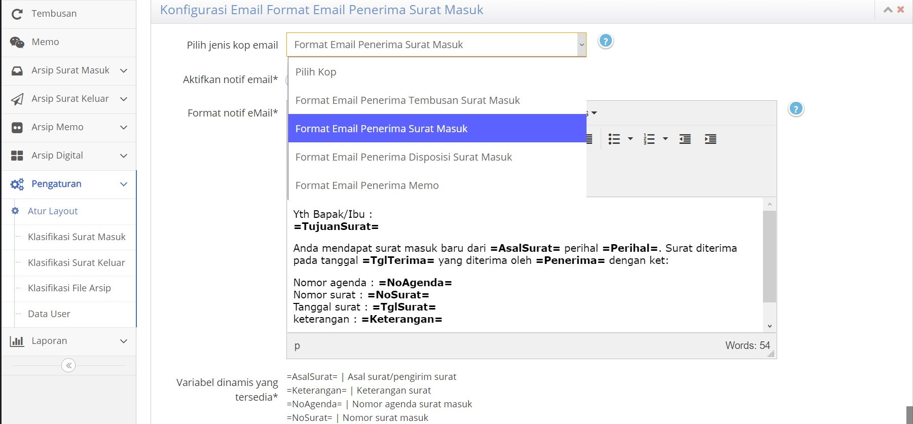Custom Layout Notifikasi Surat dan Memo - SIAS Advanced