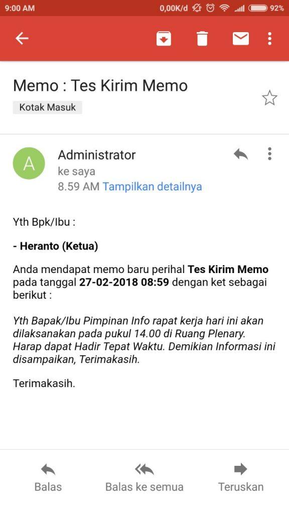 Notifikasi Email Memo Masuk - SIAS Advanced