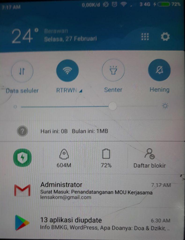 Notifikasi Smartphone Email Surat Masuk - SIAS Advanced
