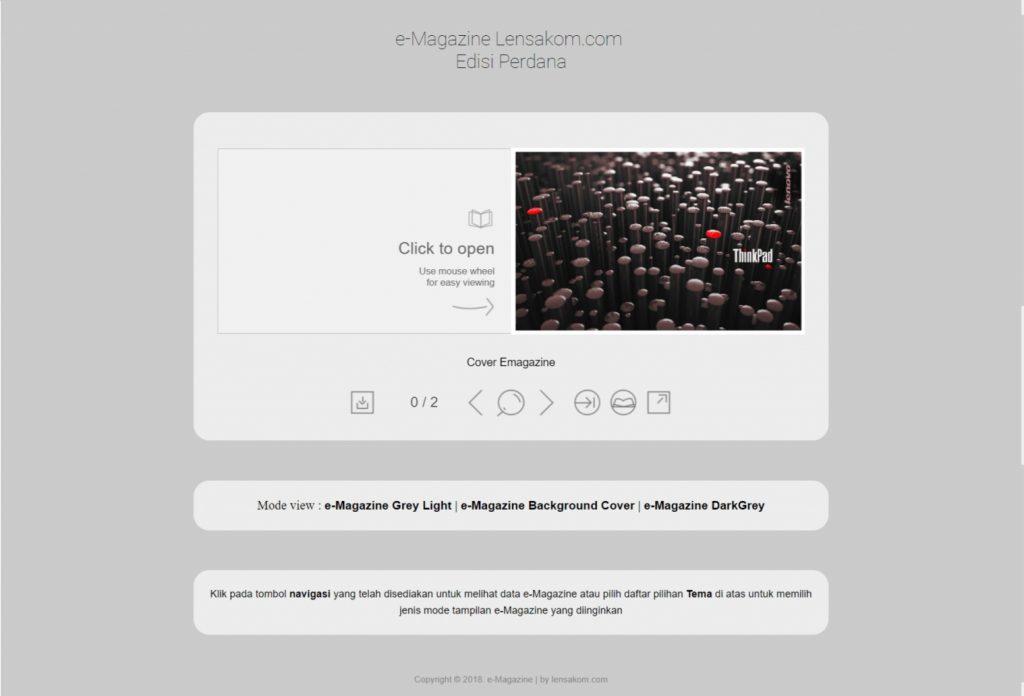 Tampilan flipping book majalah digital web portal aplikasi e-Magazine - Lensakom