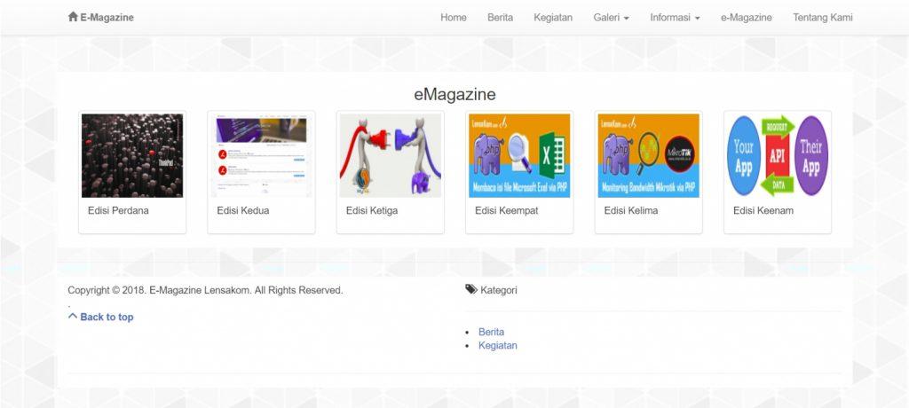 Daftar majalah digital web portal aplikasi e-Magazine - Lensakom
